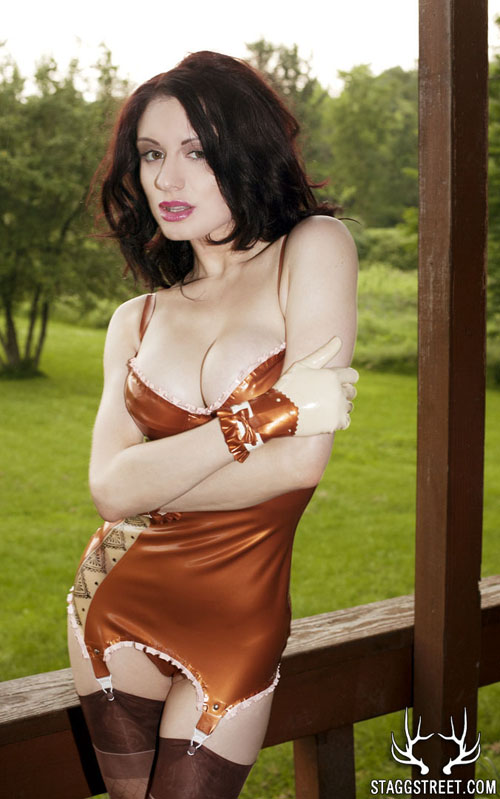 DARENZIA IN LATEX ON A PORCH OUTSIDE